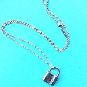 Auth Tiffany & Co. 1837 Padlock Pendent Necklace
